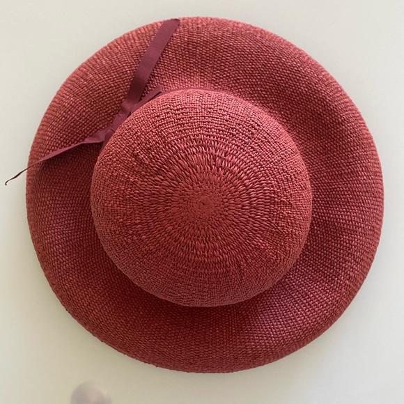 Red Summer Straw Cloche Hat (S/M)